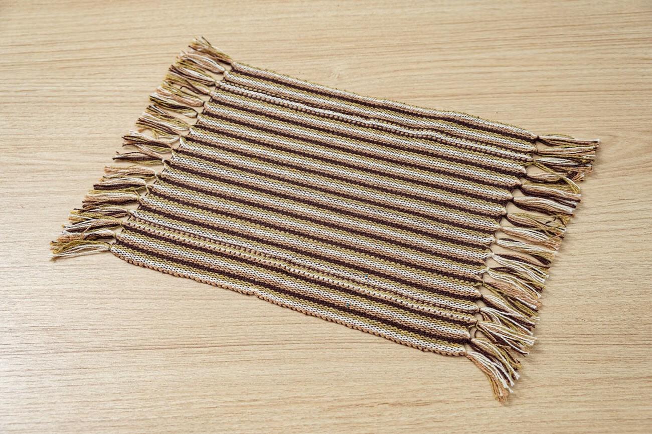 Mini guardanapo em algodão Marrom listrado unidade