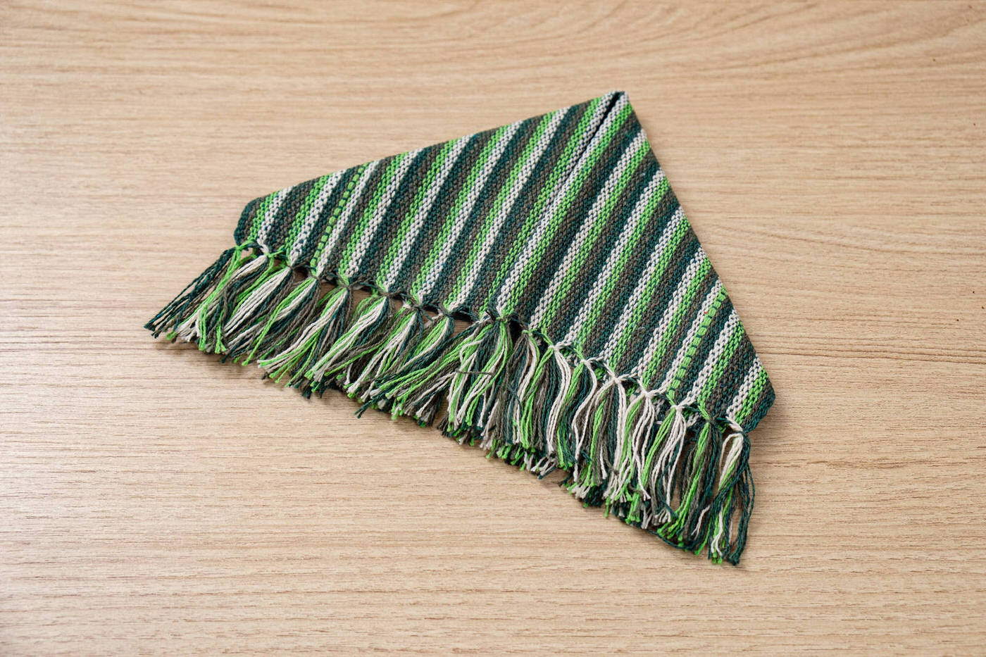 Mini guardanapo em algodão Verde listrado unidade