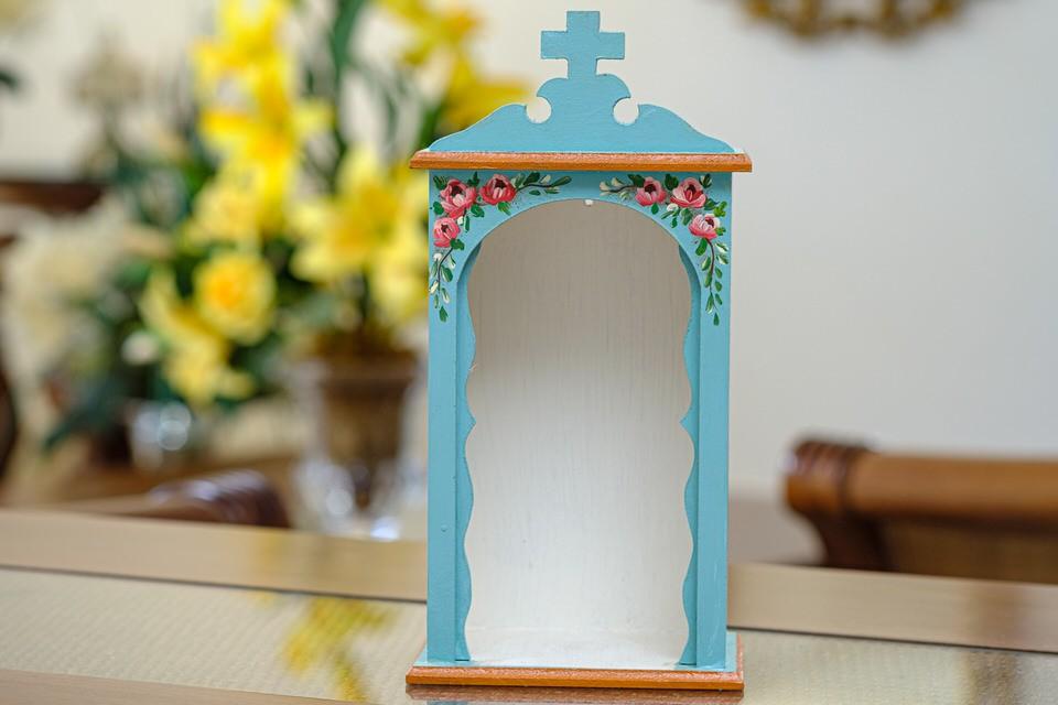 Mini Oratório em Madeira sem Portas - Azul Água