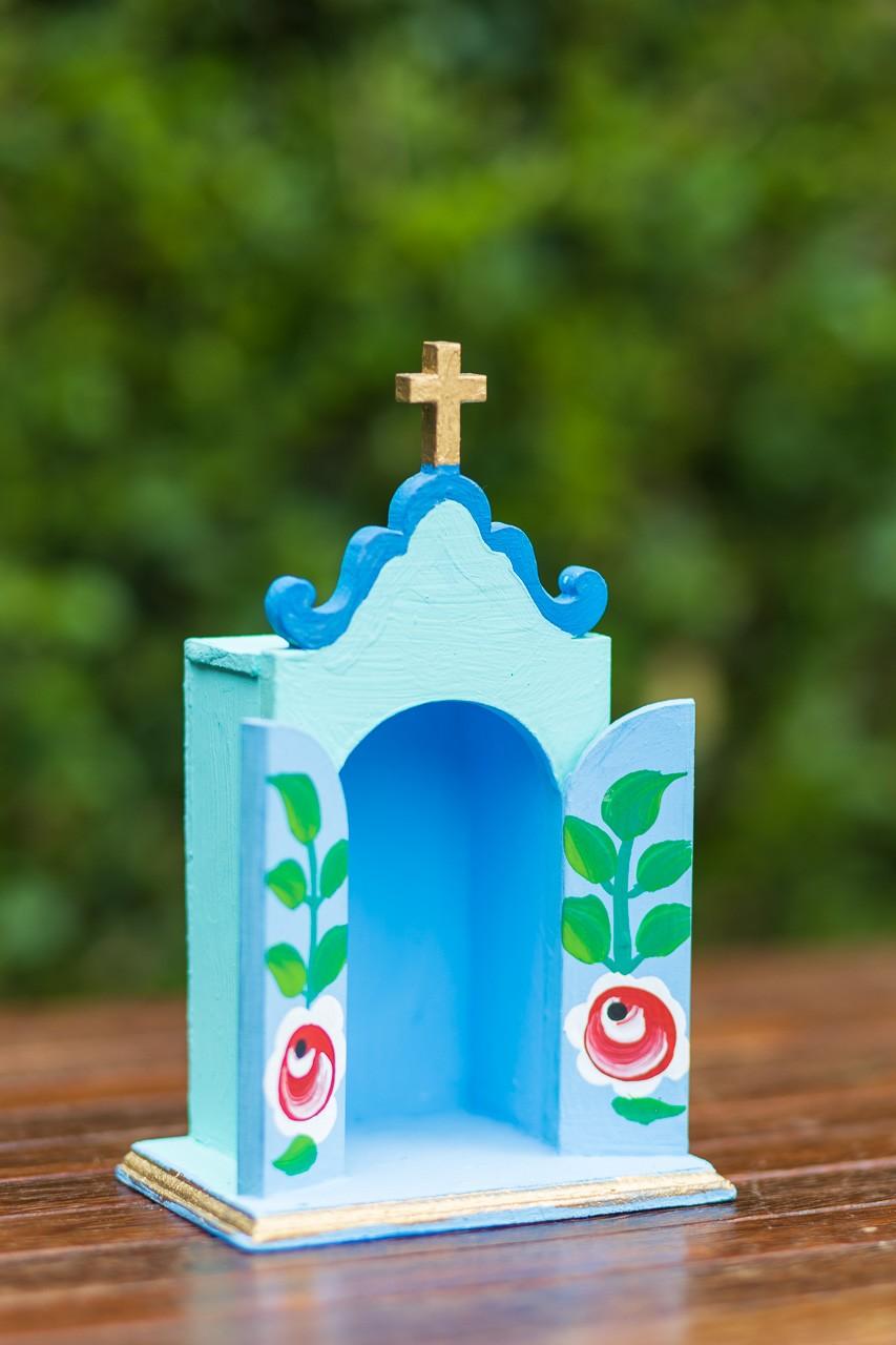 Mini Oratório em Madeira - Verde com Fundo Azul
