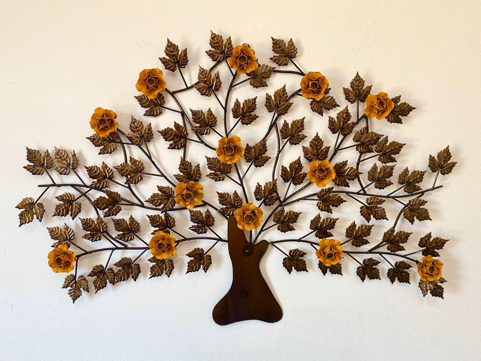 Árvore em Ferro Decorativa para Parede com Flores - Amarela