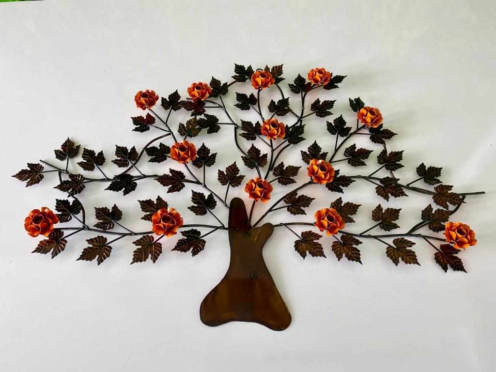 Árvore em Ferro Decorativa para Parede com Flores - Laranja
