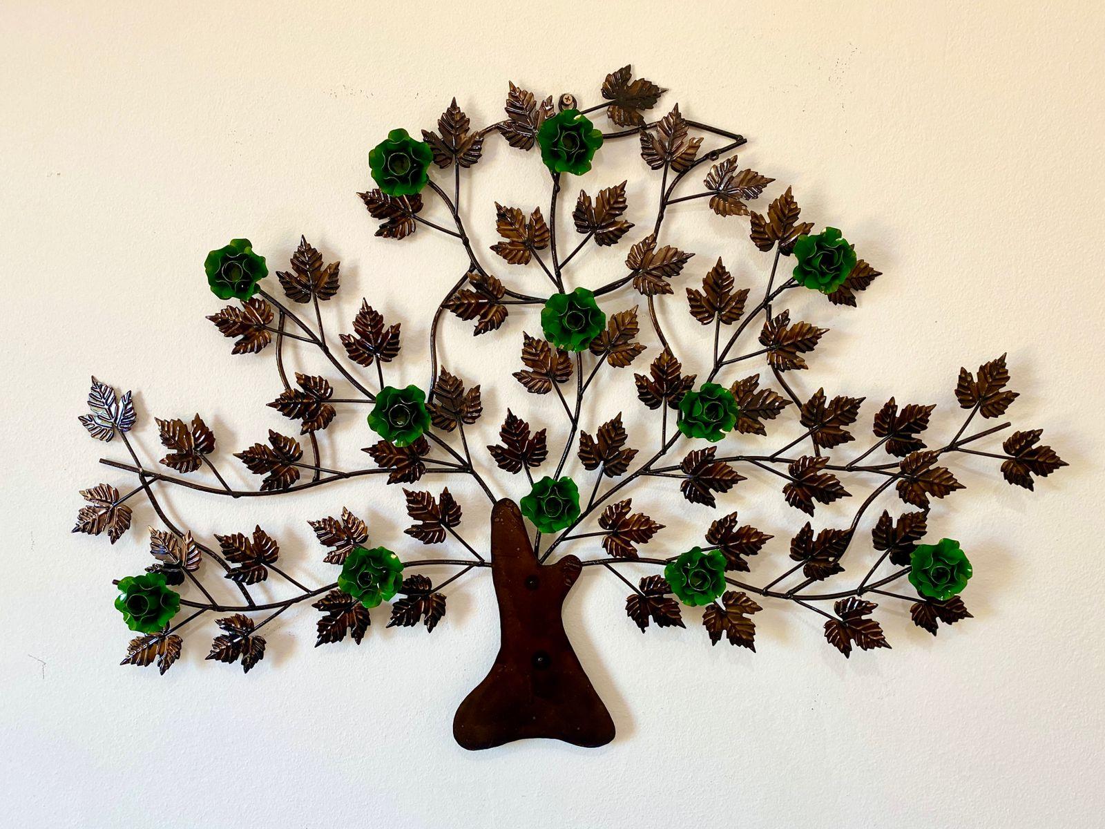 Árvore em Ferro Decorativa para Parede com Flores - Verde