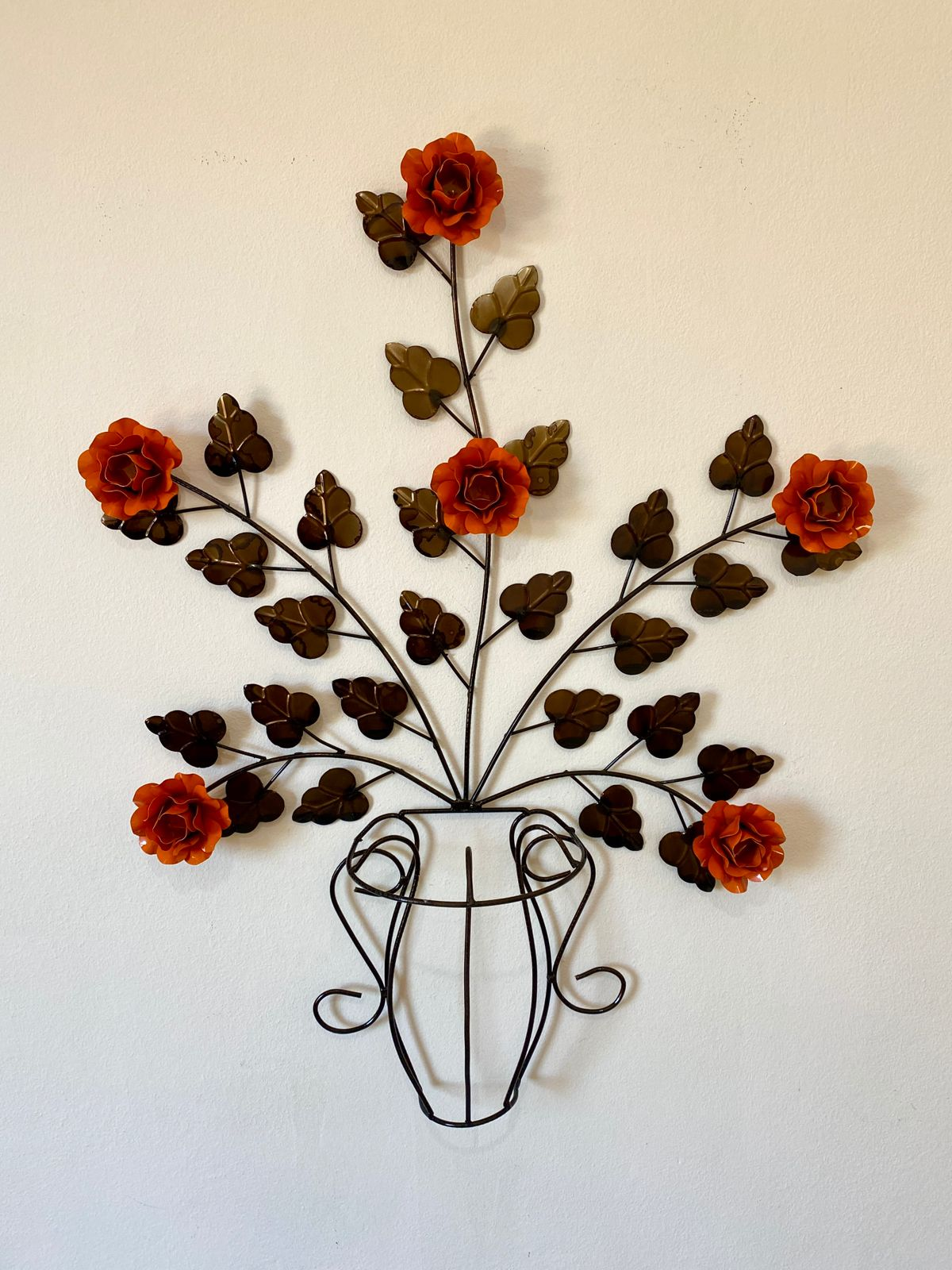 Moldura em Forma de Vaso de Flores Laranja