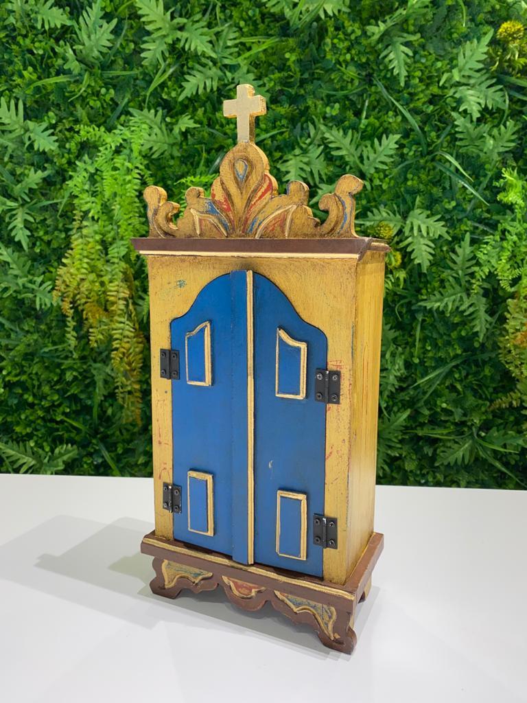 Oratório em Madeira Amarelo com Portas Azuis - 42 x 9,5 x 19,5 cm