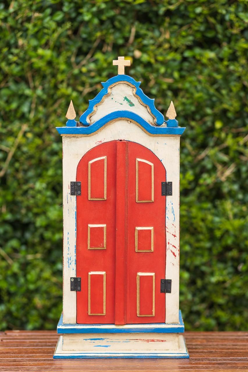 Oratório Grande em Madeira Azul com portas Vermelha