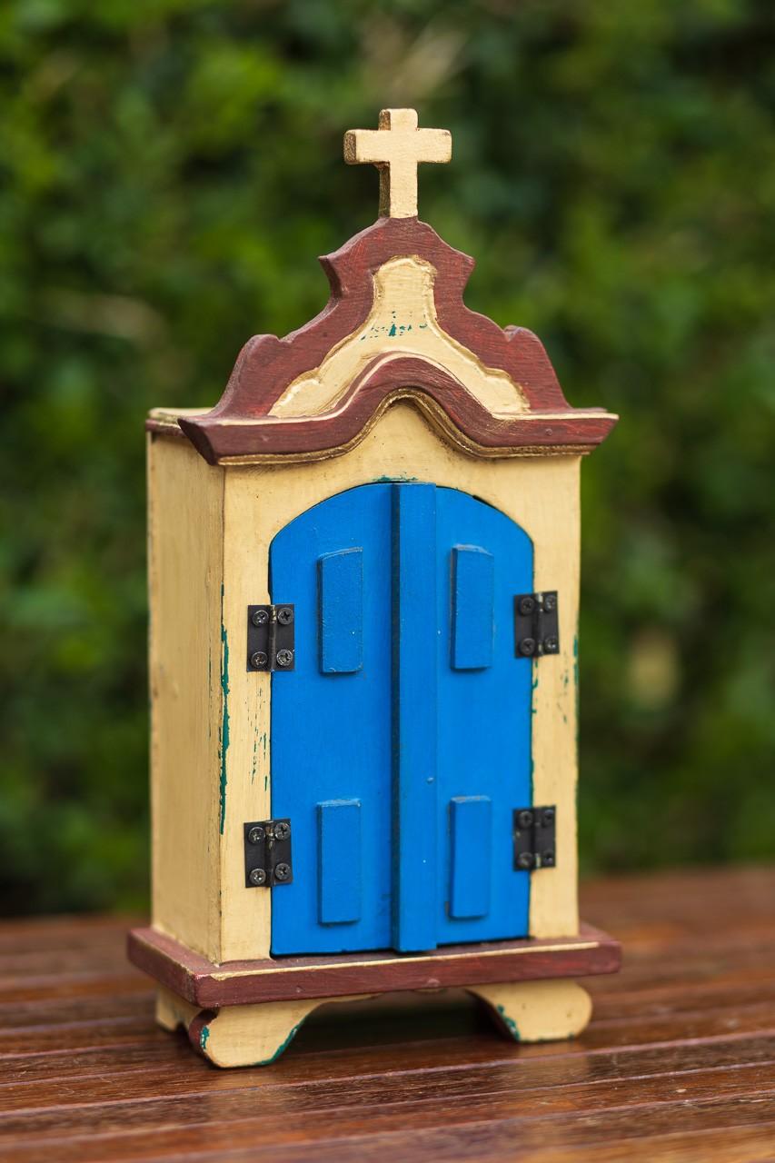 Oratório Pequeno em Madeira Marrom com Portas Azuis