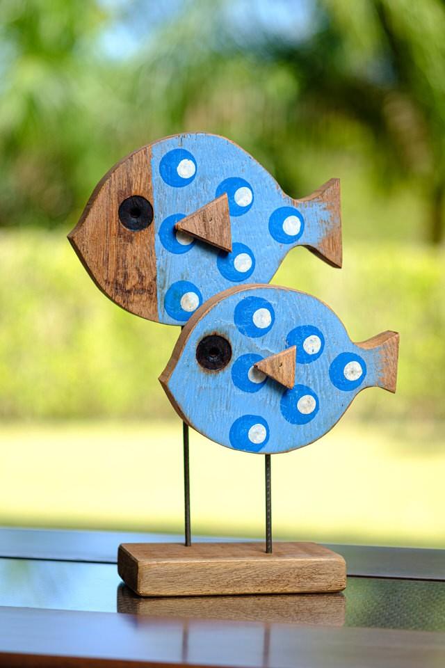 Casal de Peixes Decorativos em Madeira - Azul
