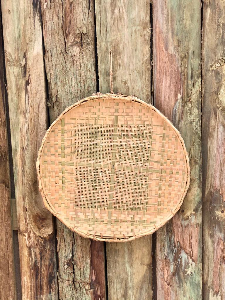 Peneira Artesanal de Bambu e Palha - 45 cm