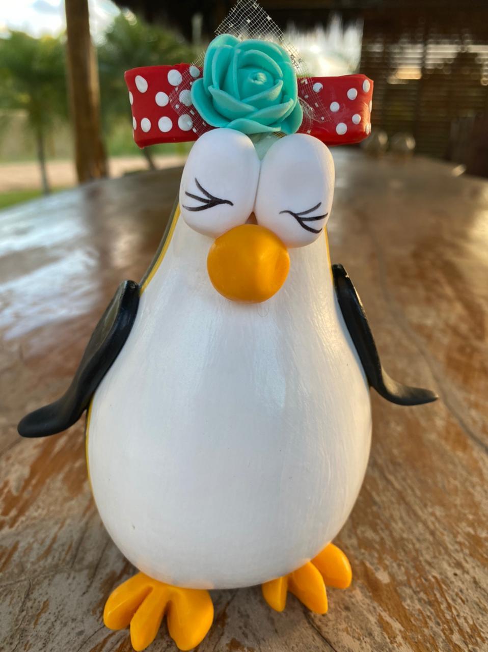 Pinguim Decorativo em Cabaça - Com Lacinho
