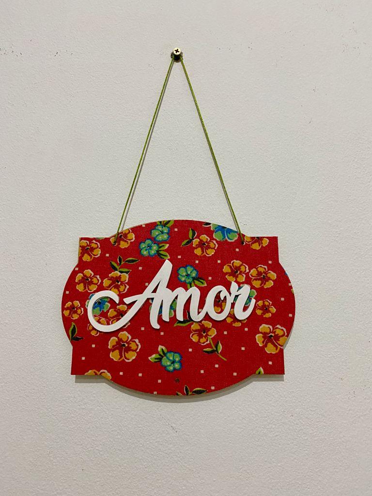 Placa em MDF Decorativa Vermelha - Amor