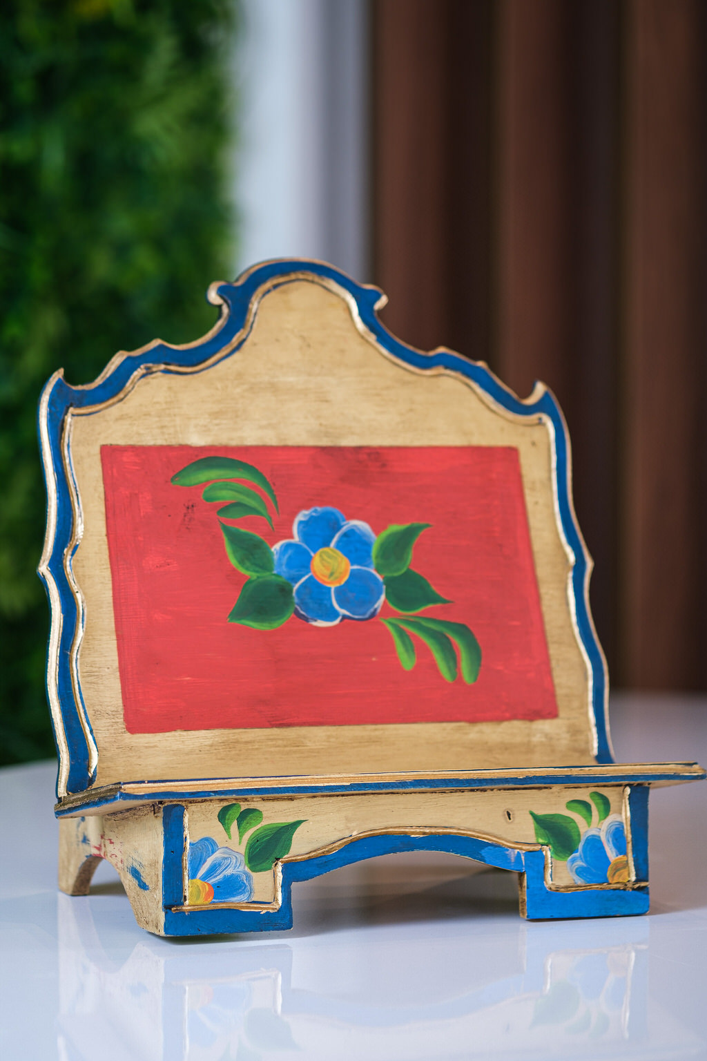 Porta Bíblia Flor Azul em Madeira