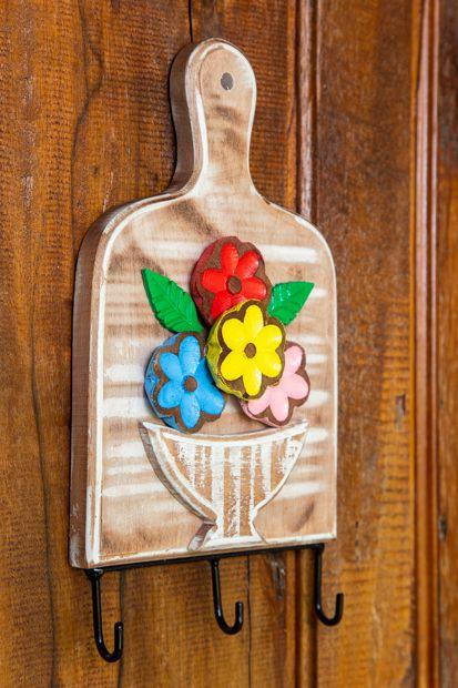 Porta Chaves com 3 Ganchos - Tábua com Flores