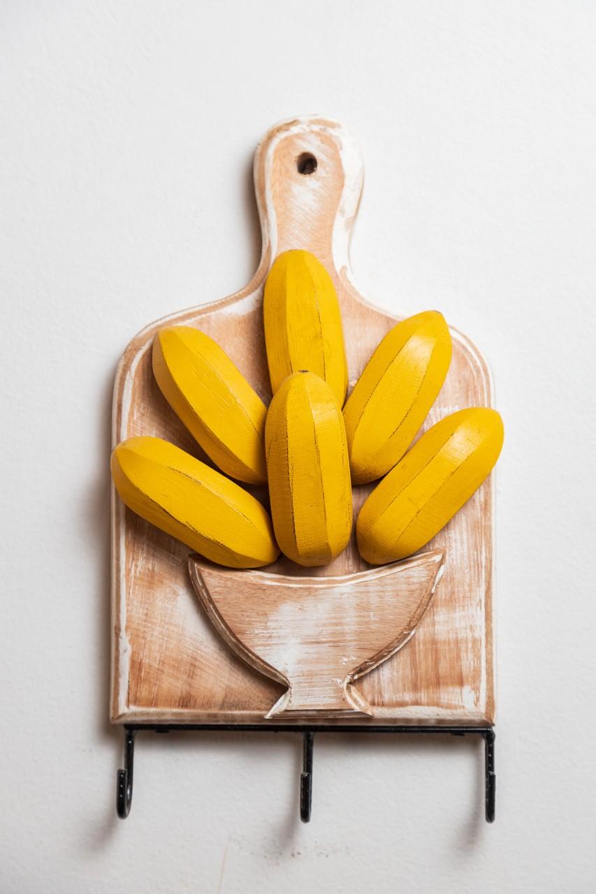 Porta Chaves com 3 Ganchos - Tábua com Bananas