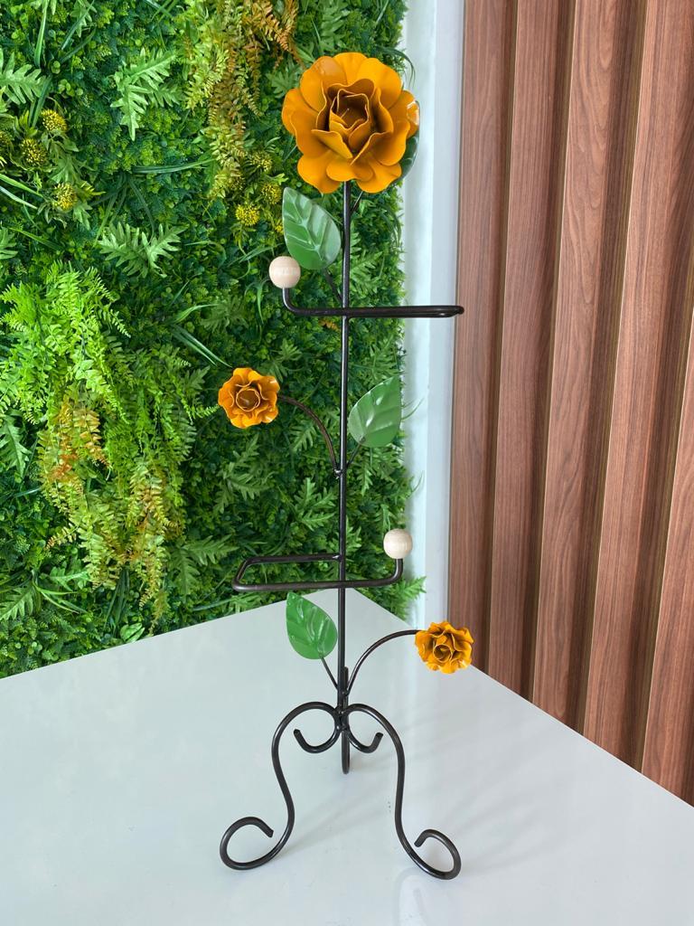 Porta Papel Higiênico em Ferro com Flores Mostardas - 67 x 22 cm