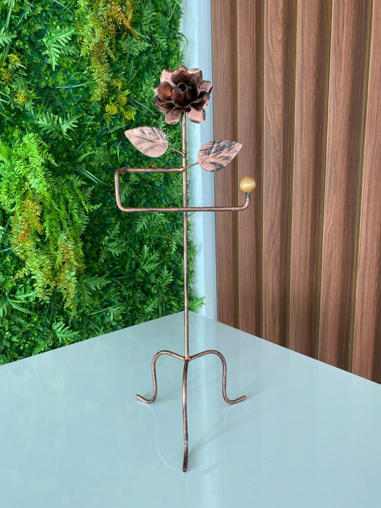 Porta Toalha com Detalhe de Flor em Ferro  - Bronze