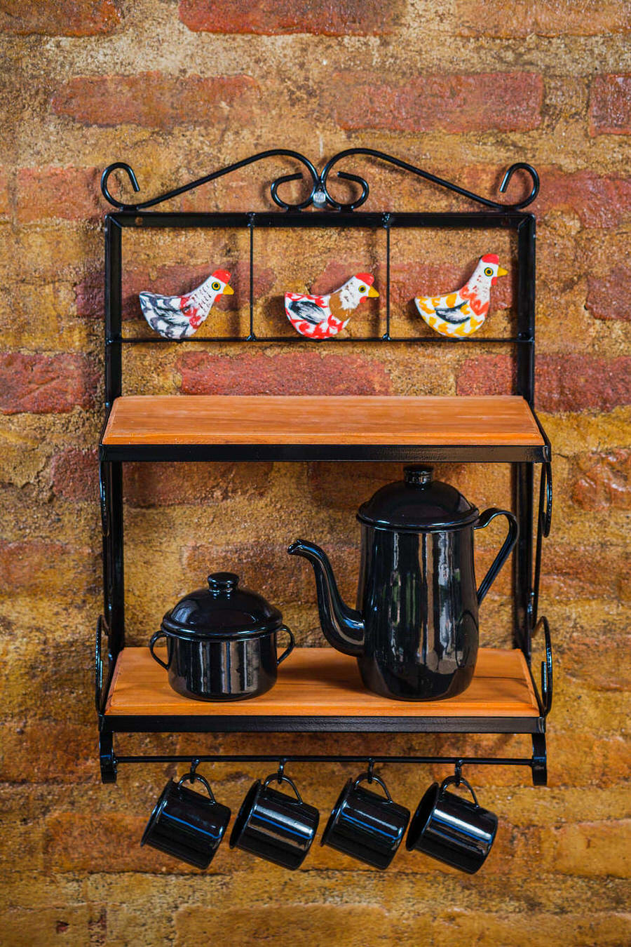 Prateleira em Ferro e Madeira Rústica de 2 Andares - 60 x 22 x 40 cm