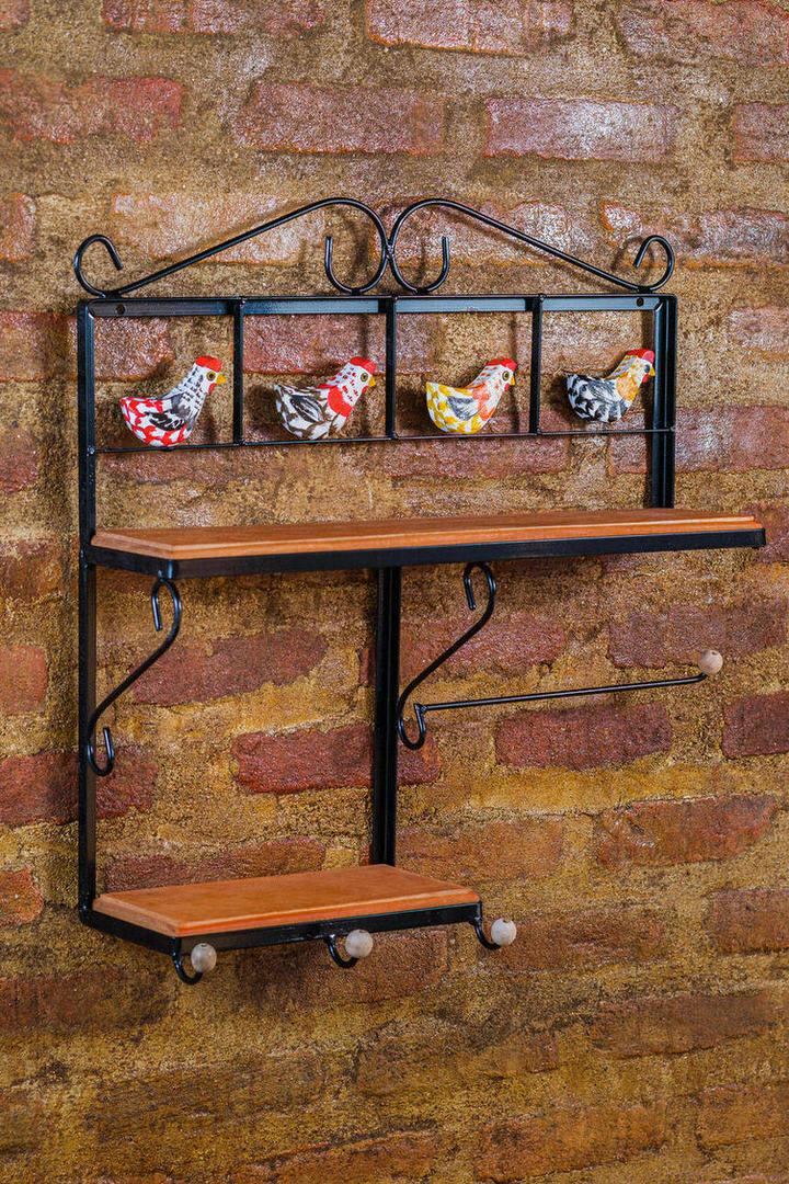 Prateleira Rústica com Porta Papel Toalha - 60 x 16 x 60 cm