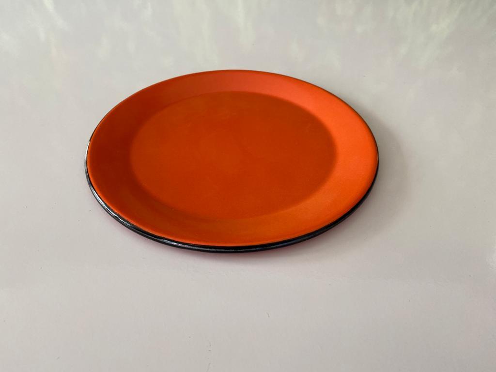 Prato de Sobremesa em Ágata Laranja - 20 cm de Diâmetro