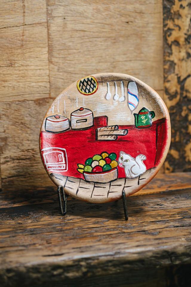 Prato em argila decoração - mesa ou parede médio