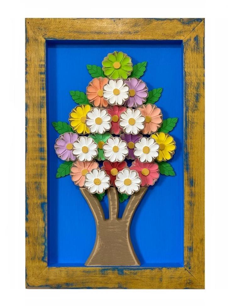 Quadro de Flores Coloridas com Fundo Azul - 60 cm x 40 cm