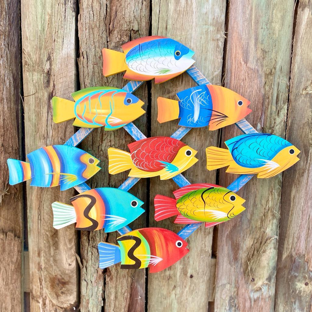 Quadro de Peixes em Madeira - 47 x 57 cm