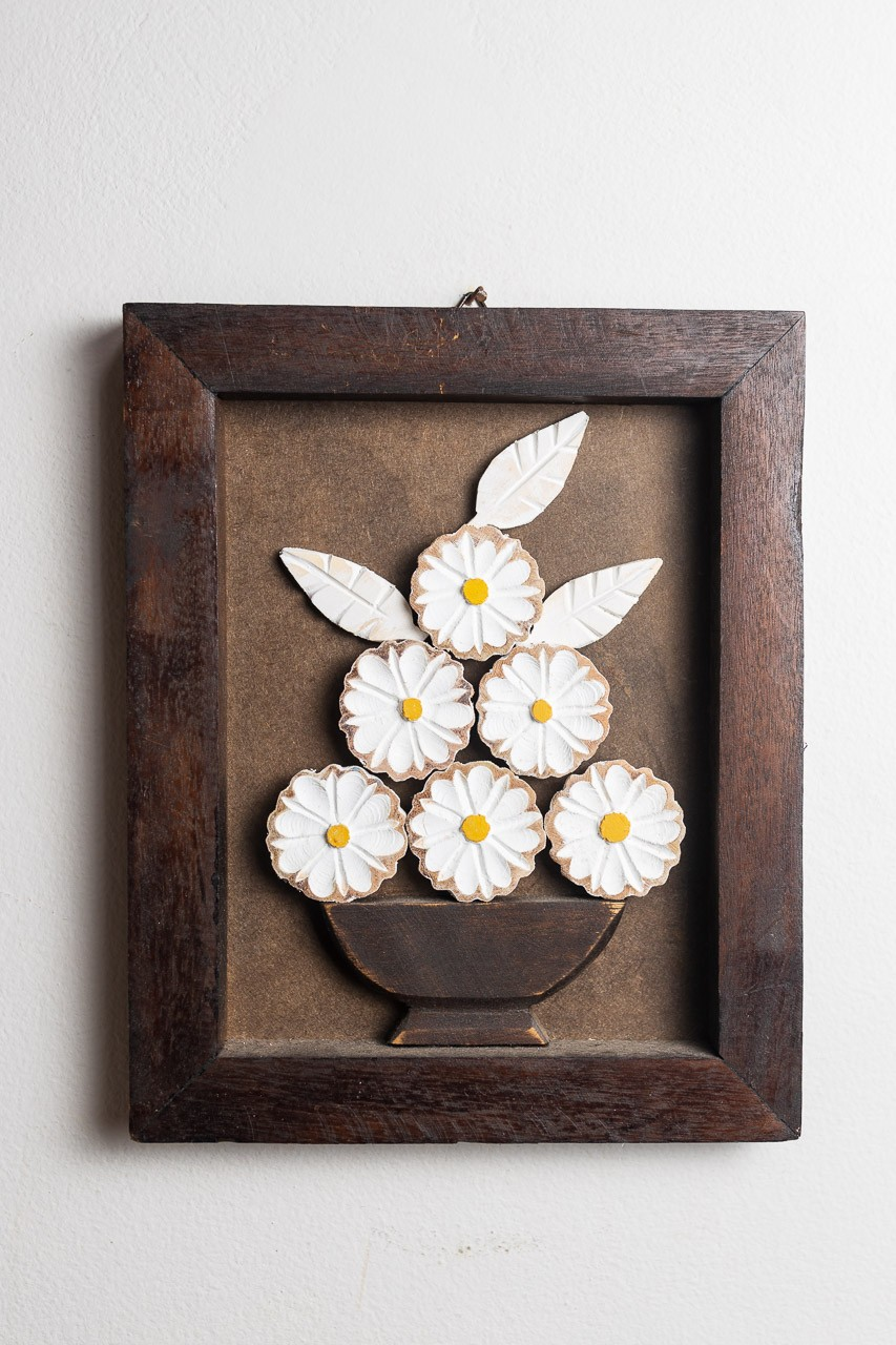 Quadro em Madeira Rústico - Flores Brancas