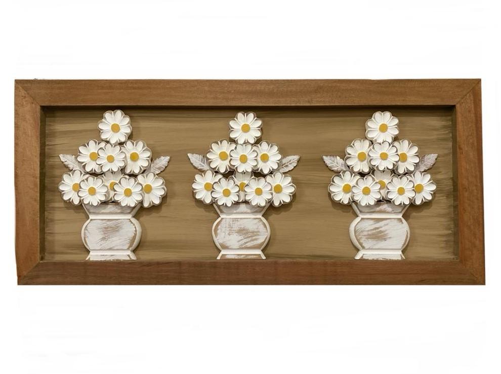 Quadro Trio de Vasos de Flores Brancas - 40 cm x 90 cm