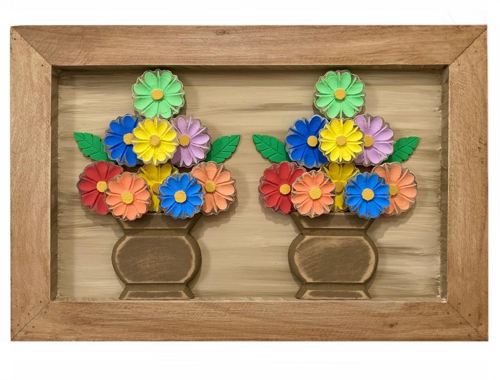 Quadro Vasos de Flores Coloridas  - 40 cm x 60 cm