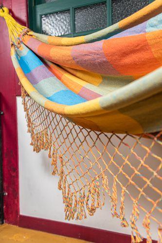 Rede algodão cores - Amarelo franja colorida