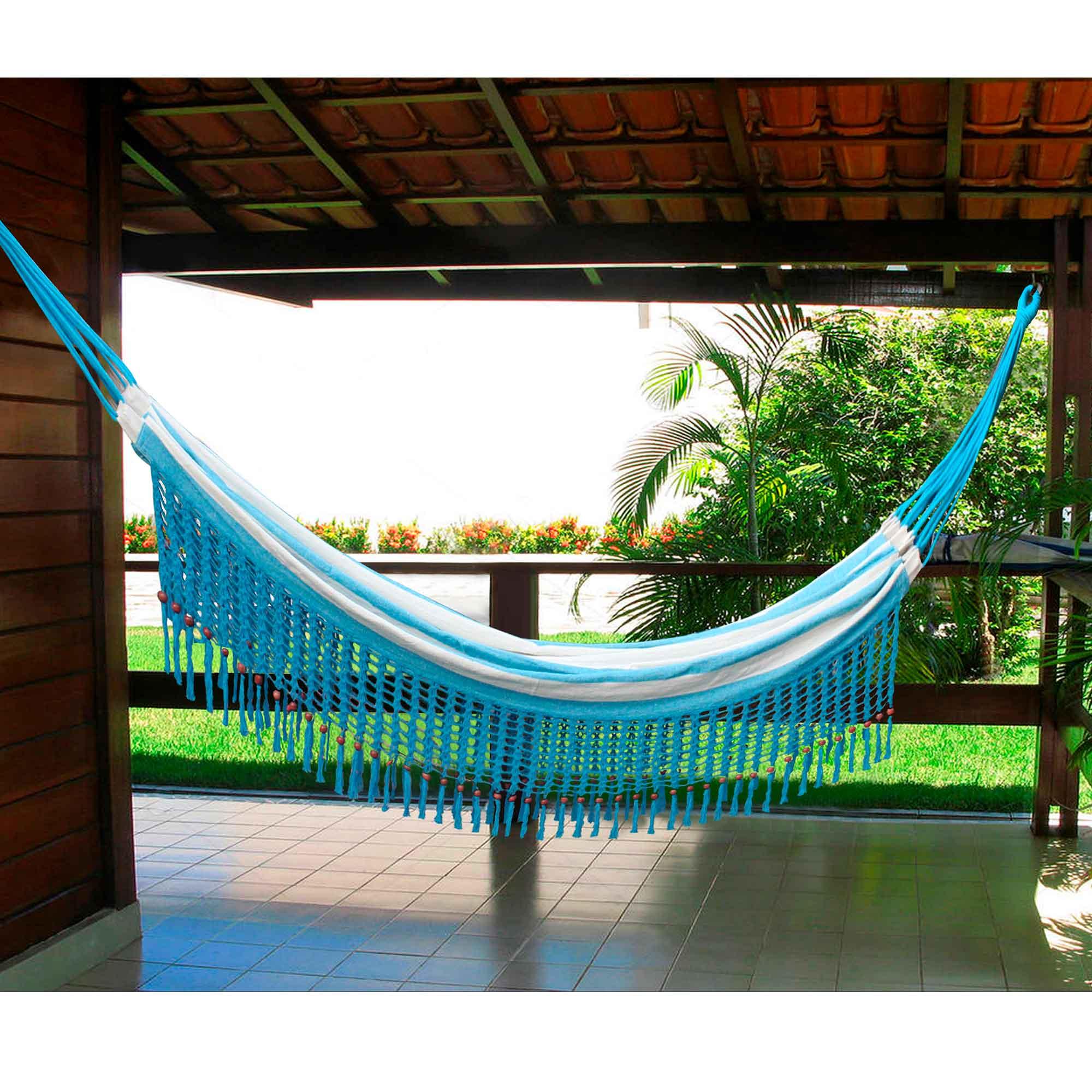 Rede de Crochê - Listrada em Azul Claro com Babado em Bolinha Azul Claro