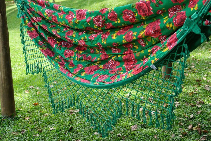 Rede de Algodão Forrada com Chita Floral