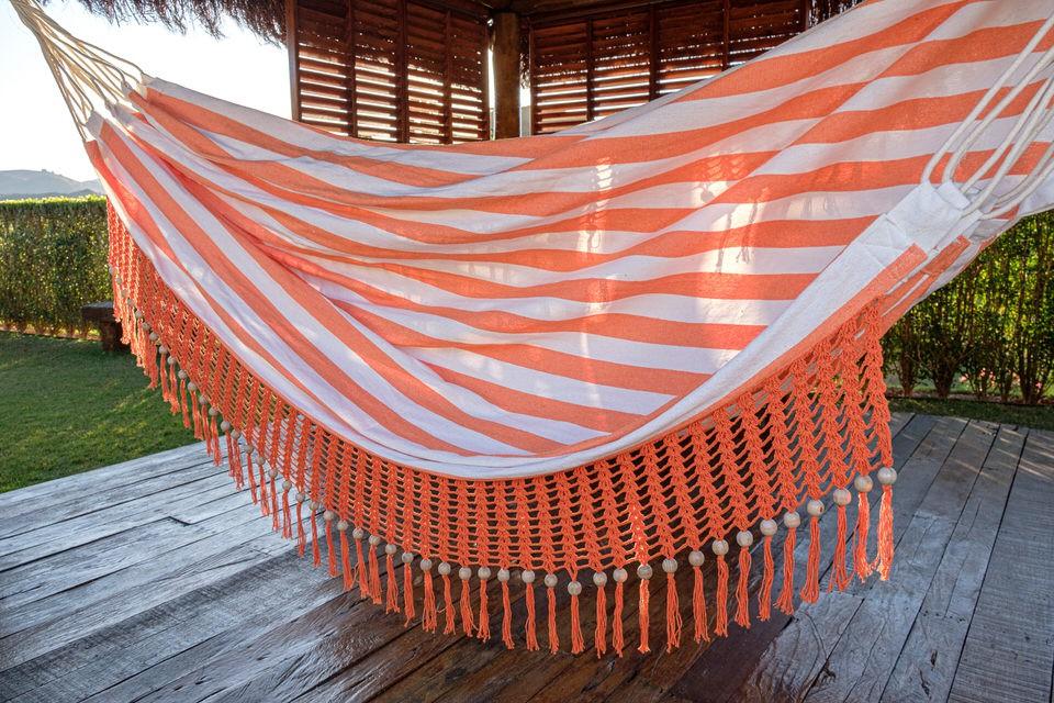 Rede de Crochê - Listrada em Laranja com Babado em Bolinha Laranja