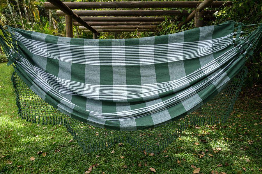 Rede em algodão xadrez verde