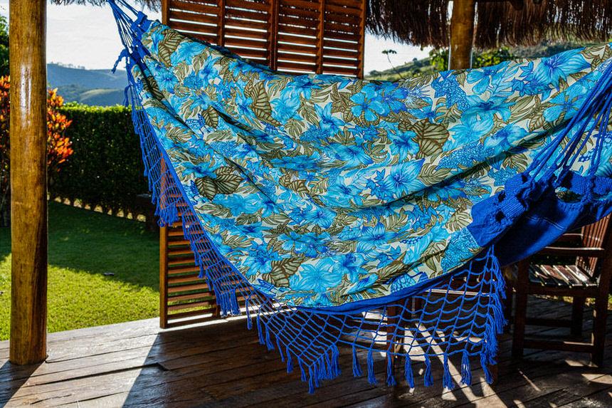 Rede Gorgurão Azul Escuro Floral