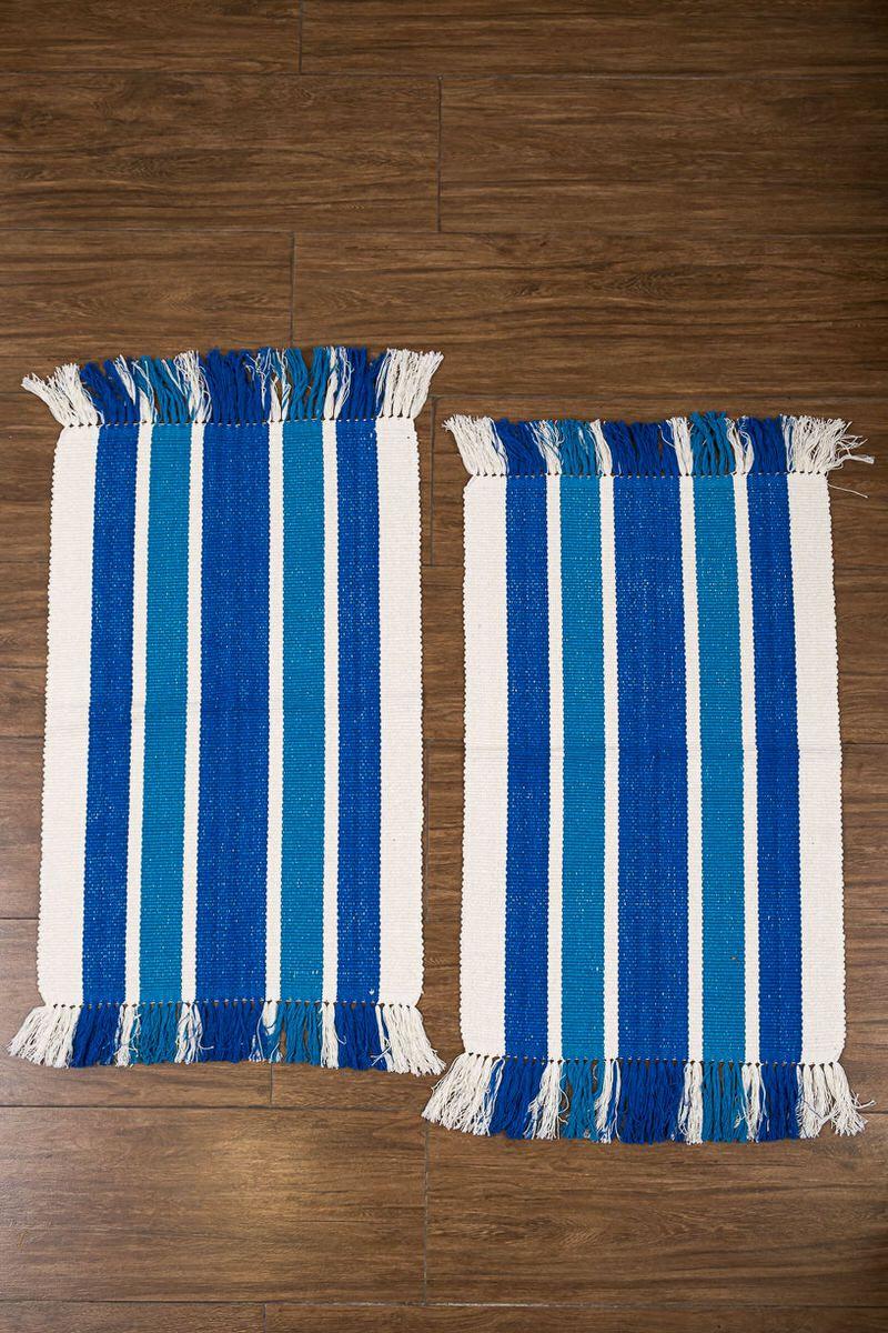 Tapete azul listras 2 peças