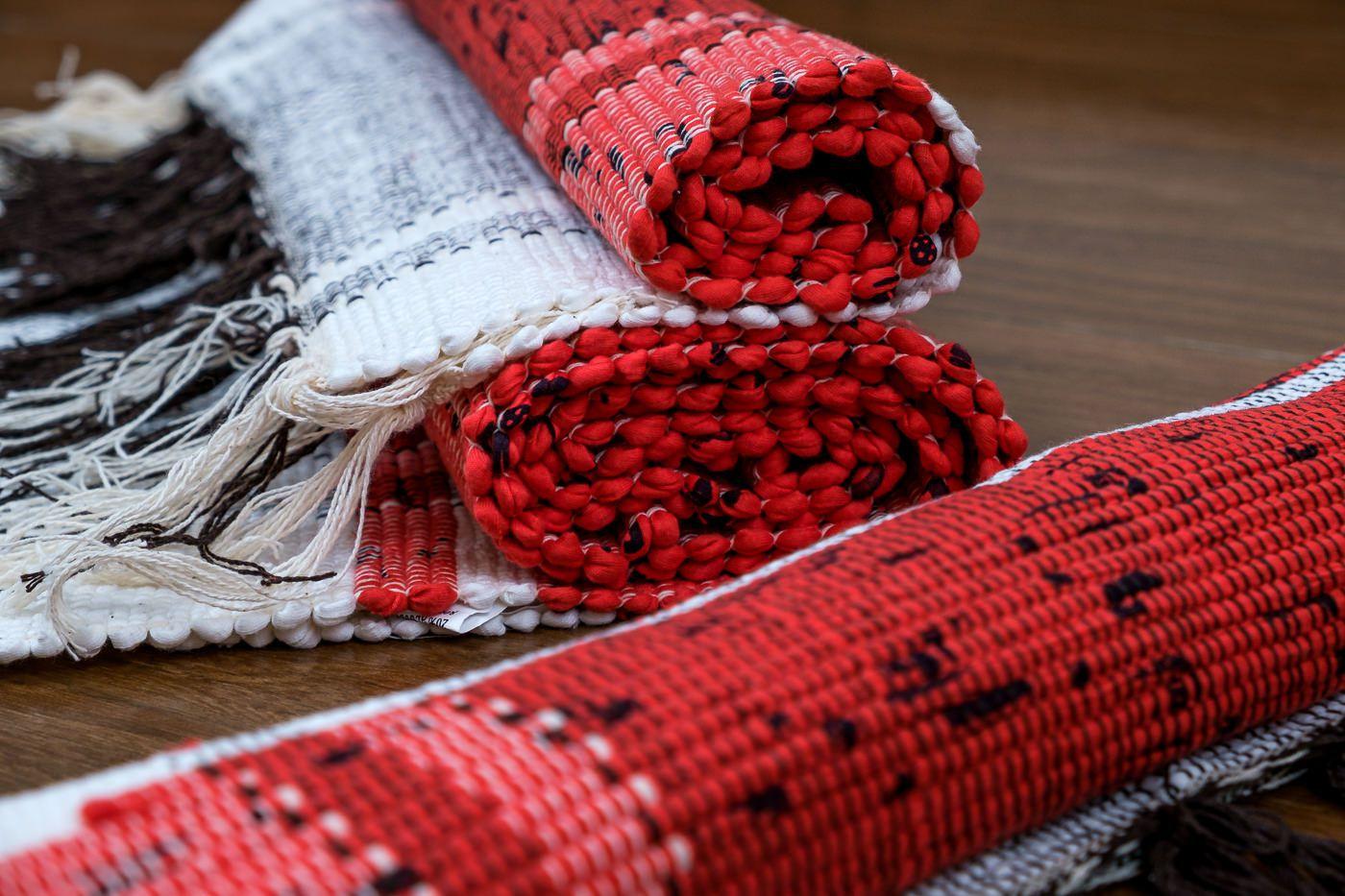 Tapete Vermelho com Borda Branco 3 Peças