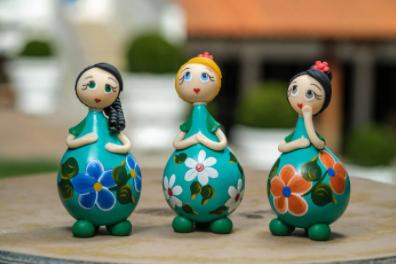 Trio de Bonecas Amorosas - Verde Claro