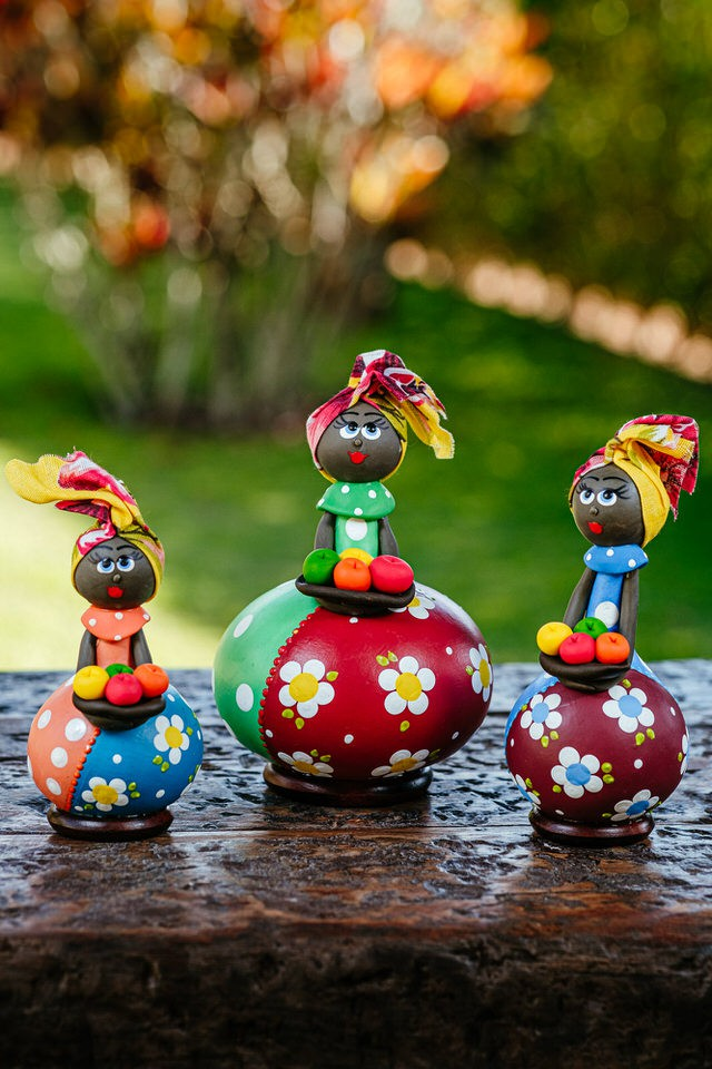 Trio de Bonecas em Cabaça Africanas