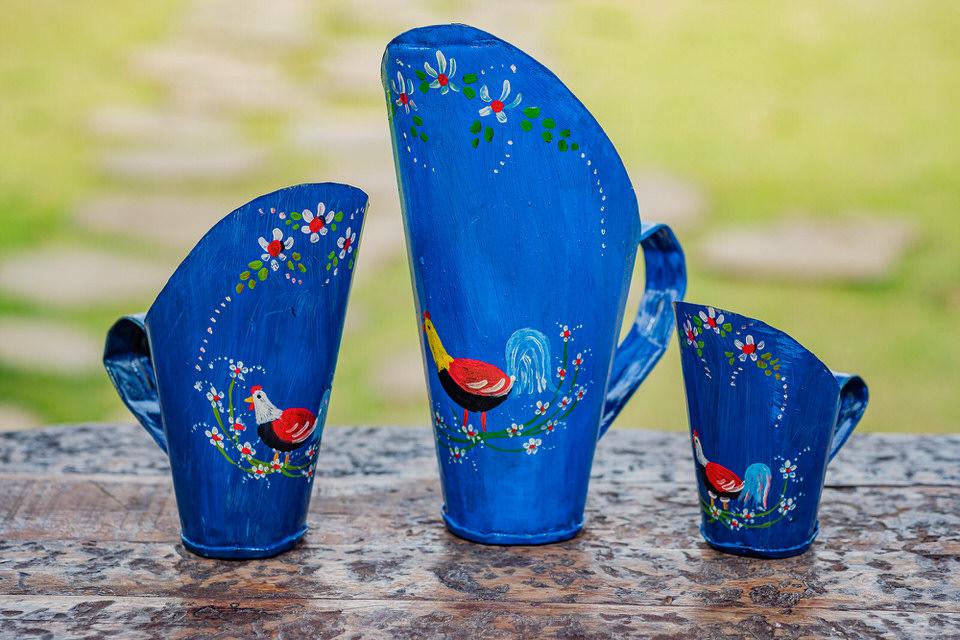 Trio de Conchas de Cereal Decorativas em Lata - Azul com Pintura