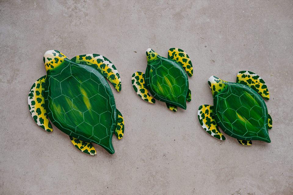 Trio de Tartarugas de Parede - Verde