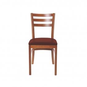 Cadeira de Madeira Tauarí Amêndoa Tramontina Paris Gigi com Encosto Vazado e Estofado em Corino Café sem Braços 14202134