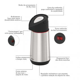 Garrafa Térmica Tramontina Exata Em Aço Inox Com Ampola de Vidro 1,8 L 61641180