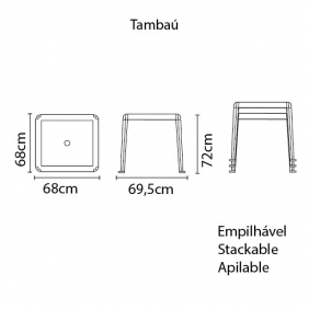Mesa Tramontina Tambaú em Polipropileno Amarelo 92 Tramontina 92314000