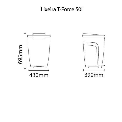 Lixeira Tramontina T-Force 50L em Polipropileno Branco 92 Tramontina 92813010