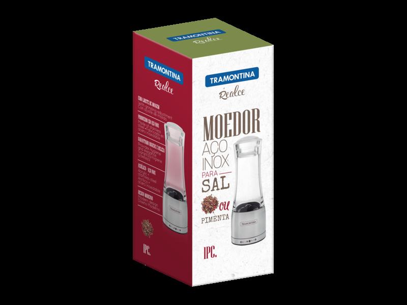 Moedor Tramontina Realce para Sal ou Pimenta em Acrílico e Aço Inox com Moinho em Cerâmica 6 Tramontina 61653000
