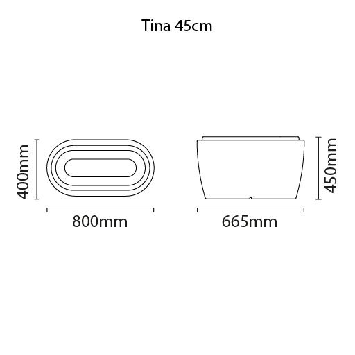 Vaso Tramontina Tina 80 x 40 x 45 cm 36 Litros Concreto 92771210