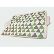 Bandeja Decorada Triangulos Verde Com Cinza - Rossi Niero