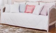 Cama Majestic Branco Fosco com Tecido Lateral Veludo Creme Capitonê - Quater
