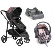 Carrinho de Bebe Com Bebe Conforto e Base Olympus Grafite e Rosa - Galzerano